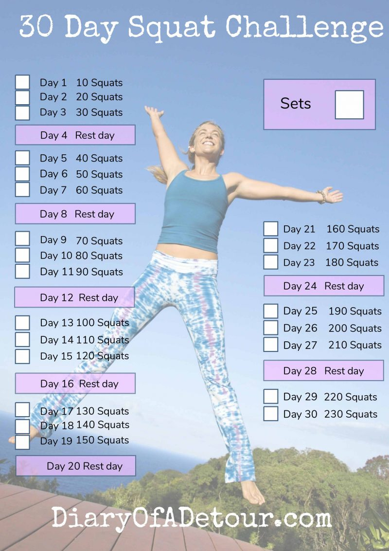 Hilaire image for printable squat challenge