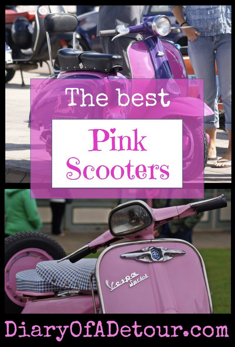 Pink scooters including Lambrettas and Vespas