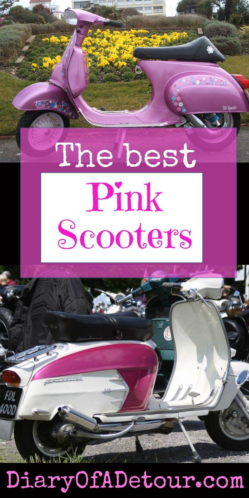 Pink scooters including smallframe Vespa and SX Lambretta