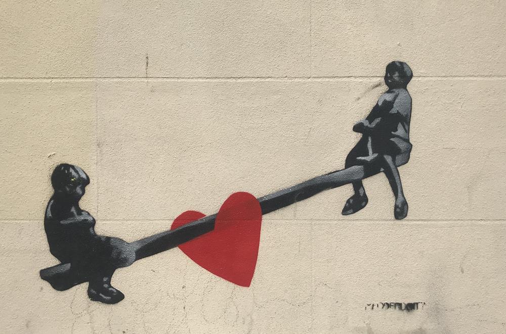 See Saw stencil in Cannon Place, Brighton
