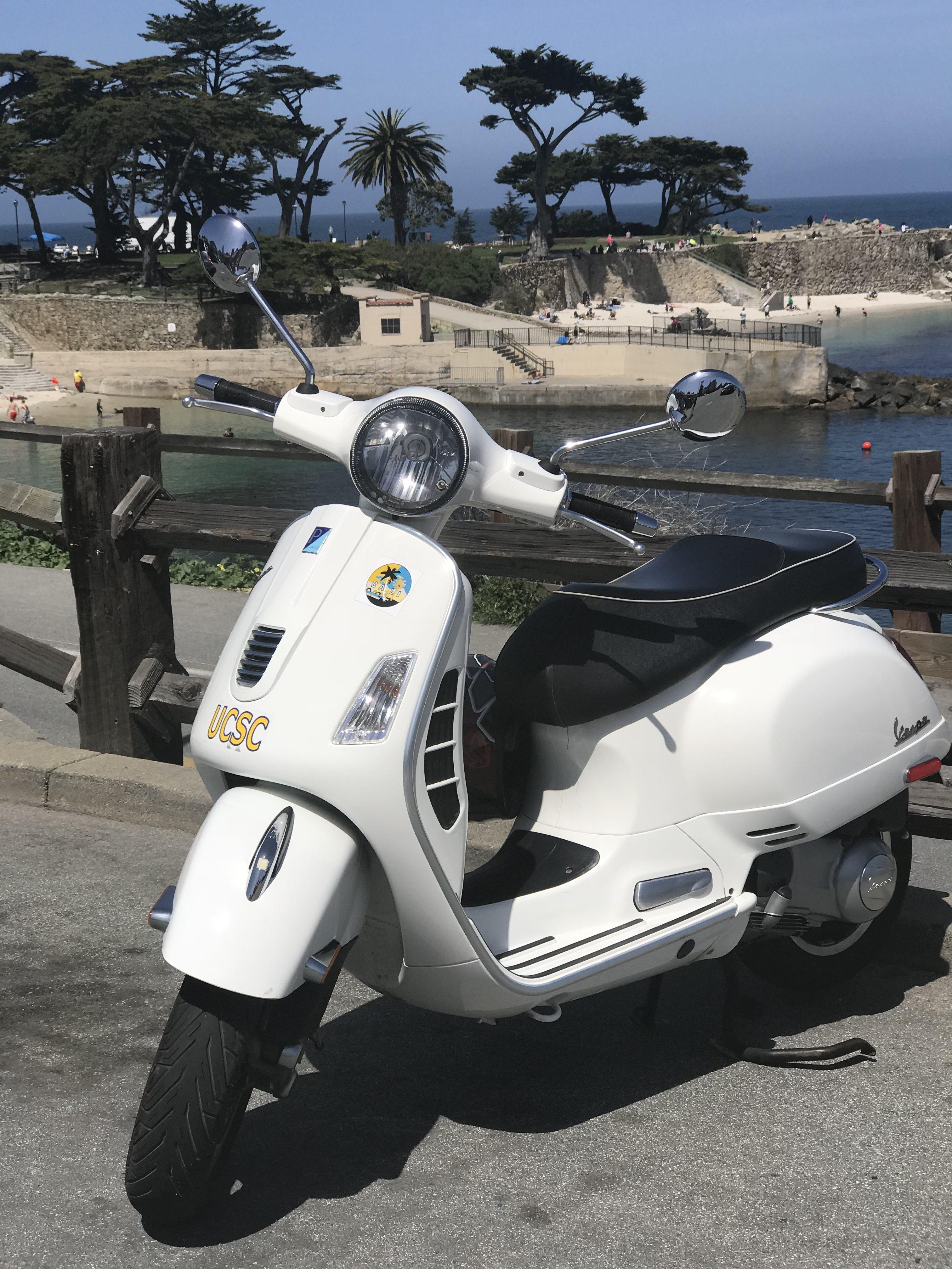 White Vespa GTS at Pacific Grove, California