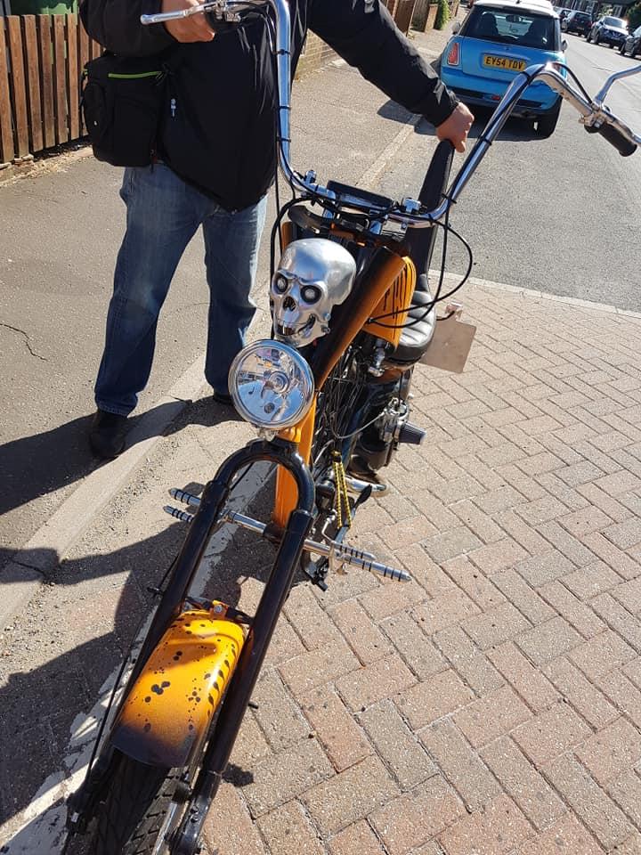 Orange Lambretta chopper scooter