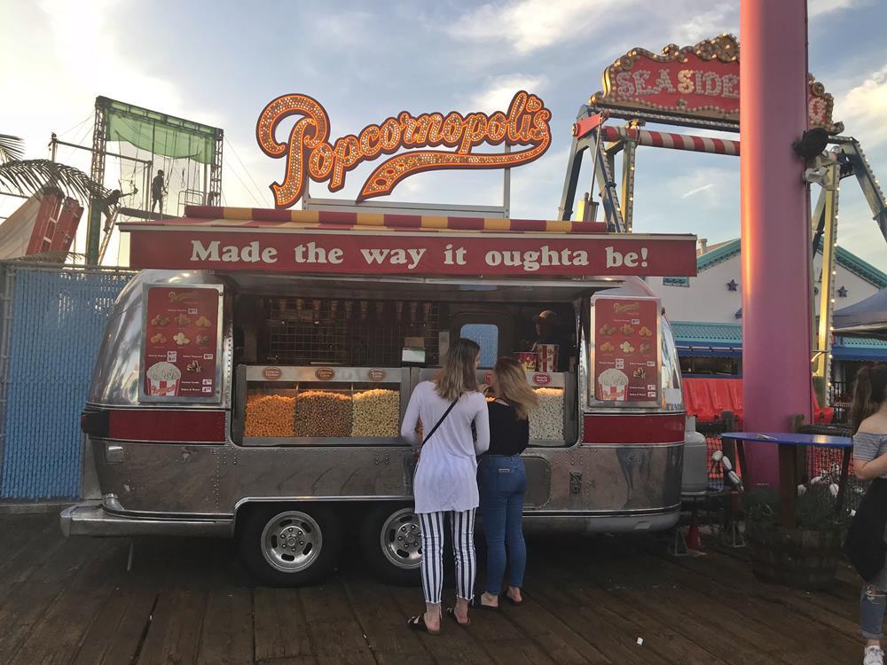 Popcornopolis food stand on Santa Monica pier