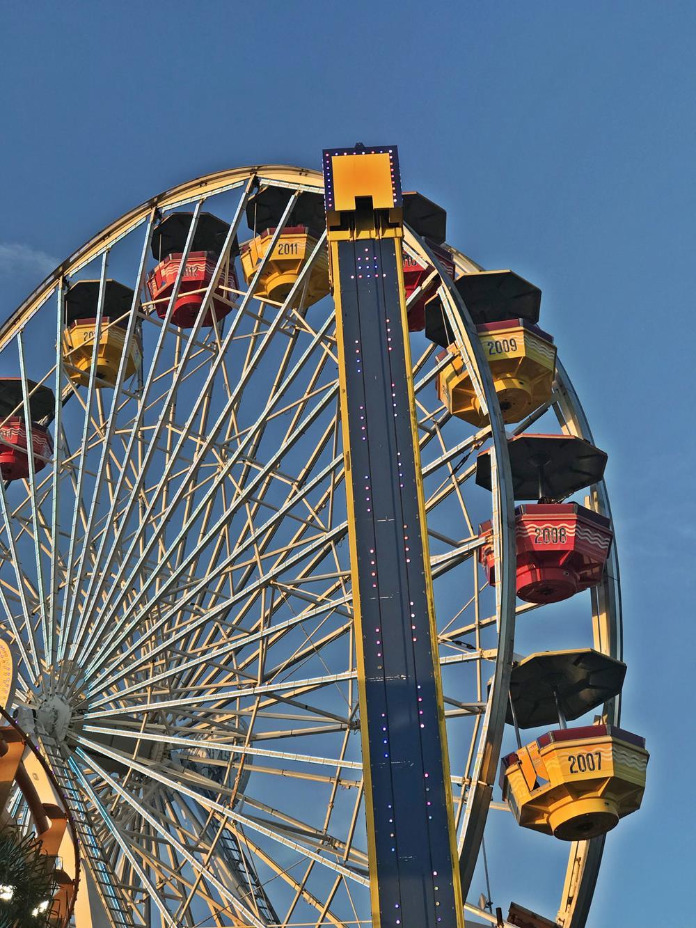 Ferris wheel cars on Santa Monica pier