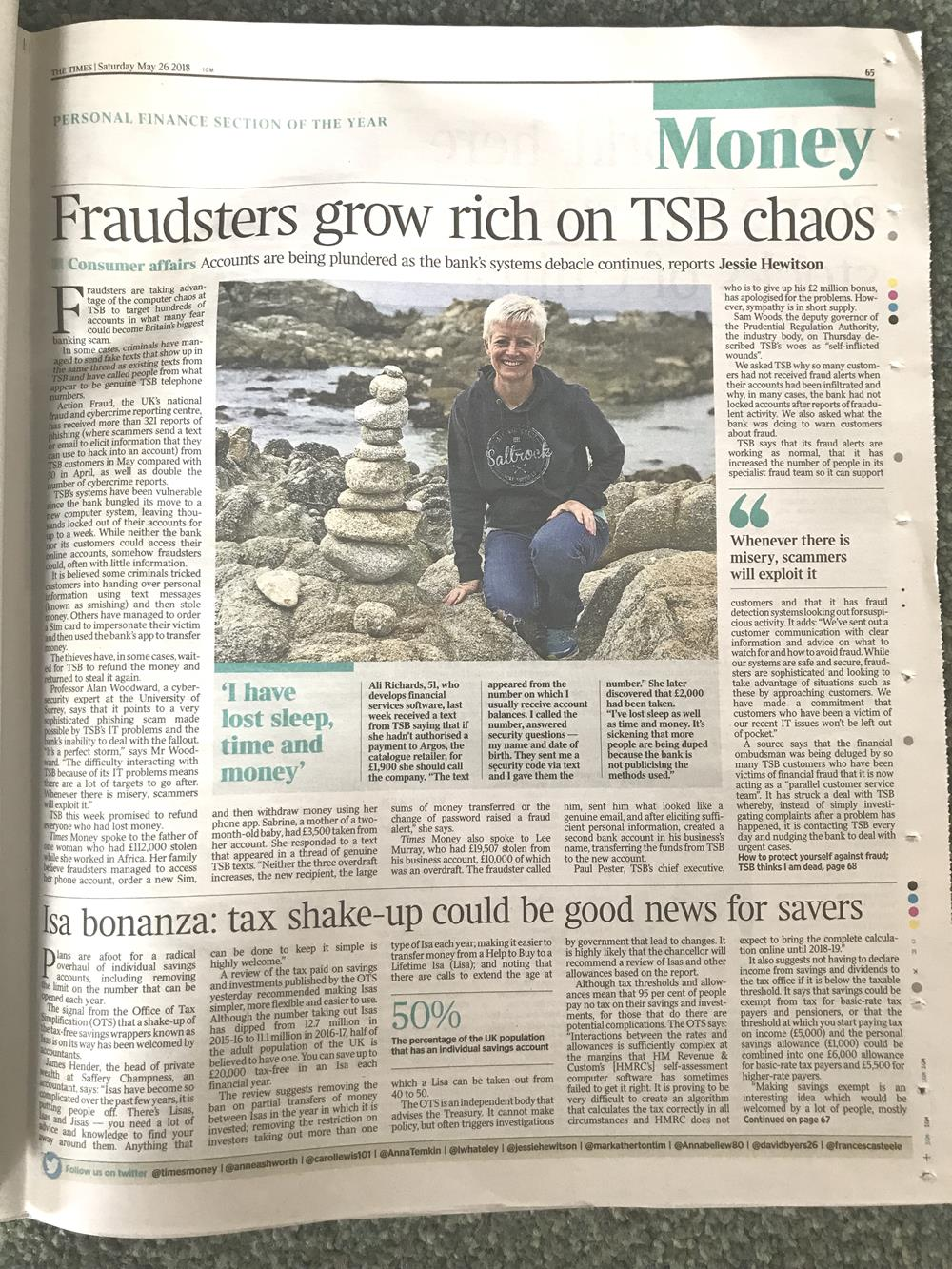 The Times Money section article about TSB fraud