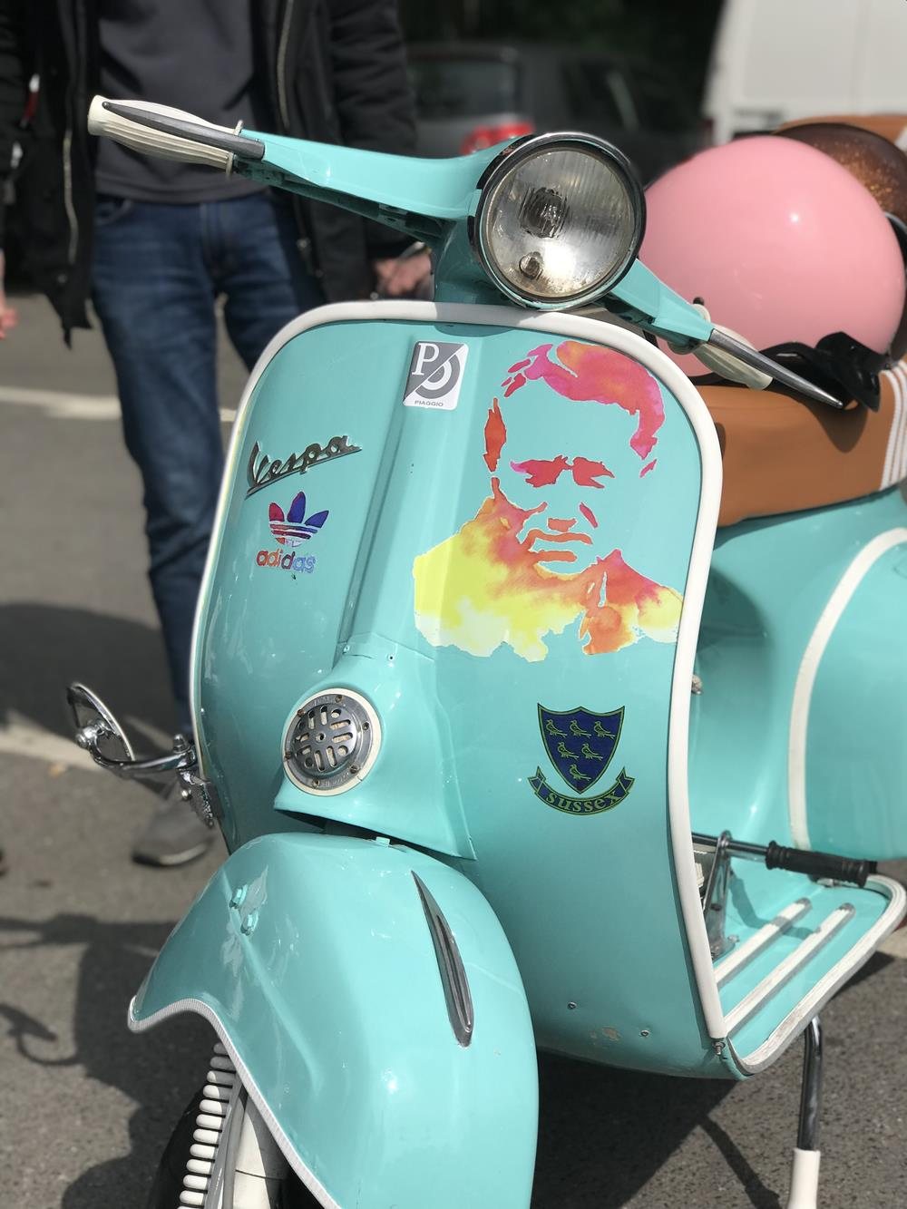 Turquoise Vespa smallframe scooter