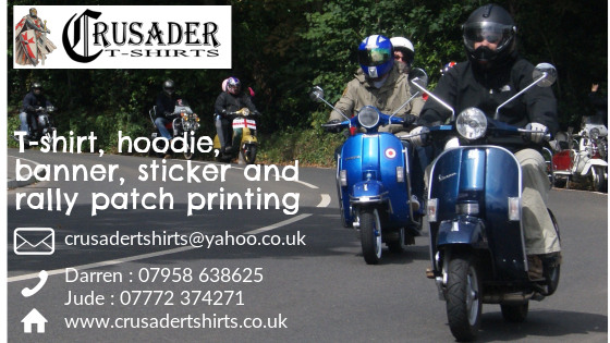 Scooter riders at the Isle of Wight rideout as background to Crusader Promotions advert