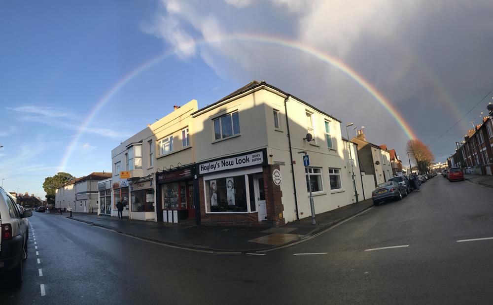 Rainbow over the shops in London Road, Bognor