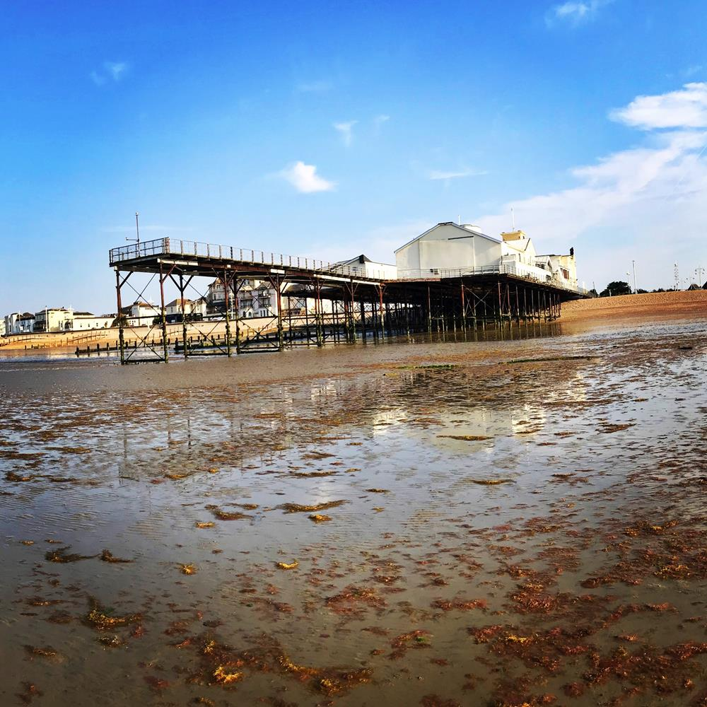 Photo of the pier at low tide