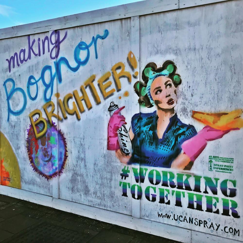 Street art opposite Bognor pier, with text 'Making Bognor Brighter'