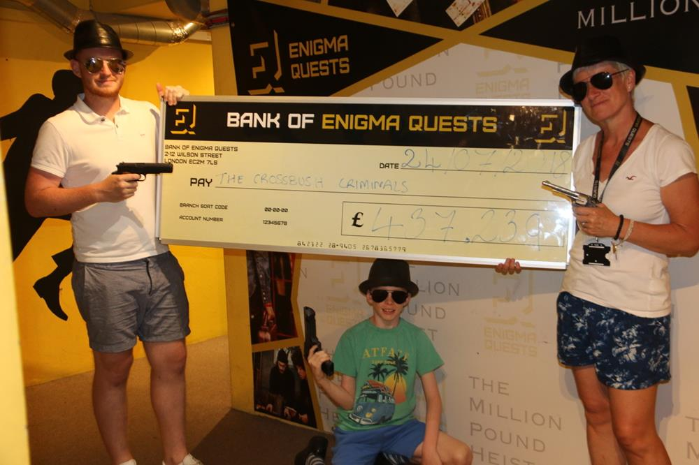 We stole over £400,000 at the Enigma Quests million pound heist escape game in London
