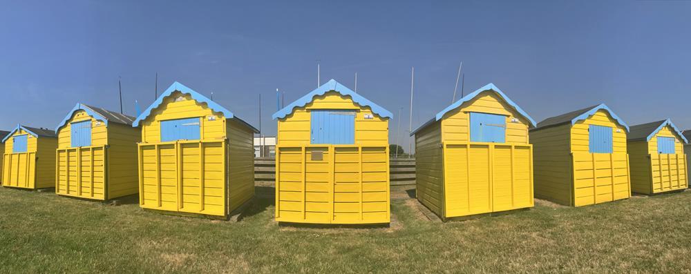 Yellow beach huts at Felpham
