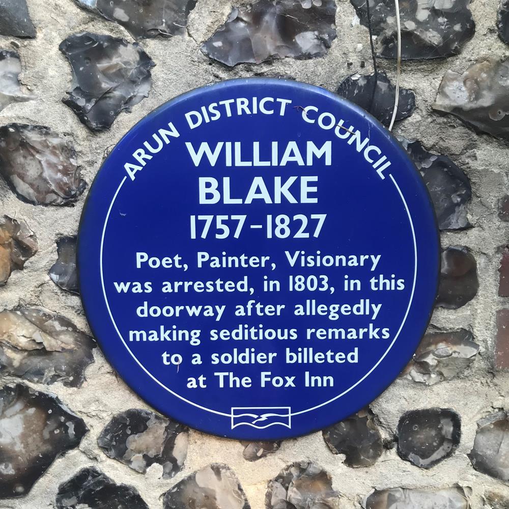 William Blake blue sign outside the Fox Inn in Felpham