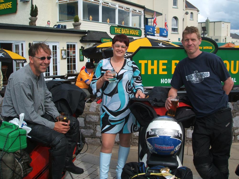 Emma with Stewart and John from the Talismen at Exmouth Scooter Rally