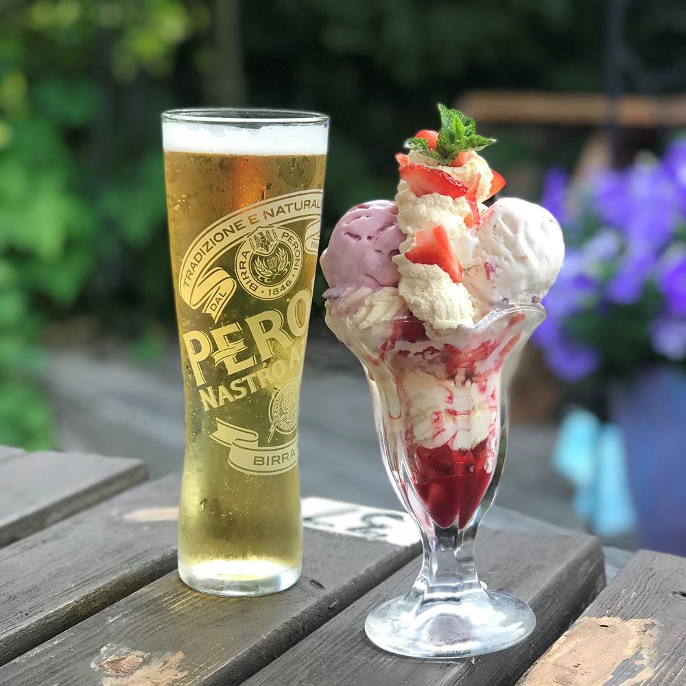 Strawberry sundae and pint of Peroni at the Fox Inn, Felpham