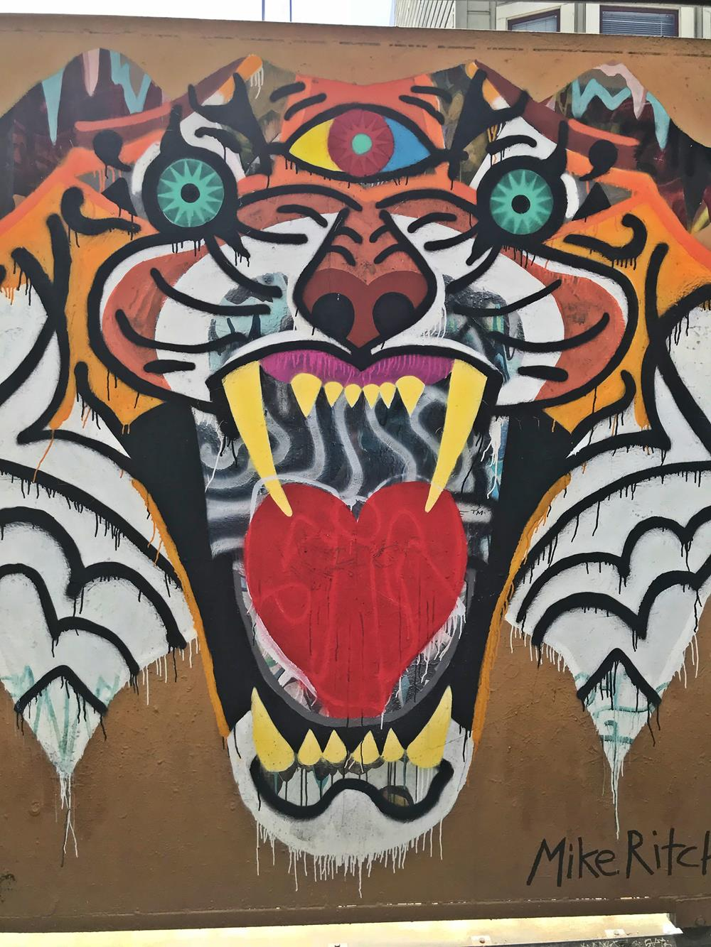 Tiger mural at Clarion Alley