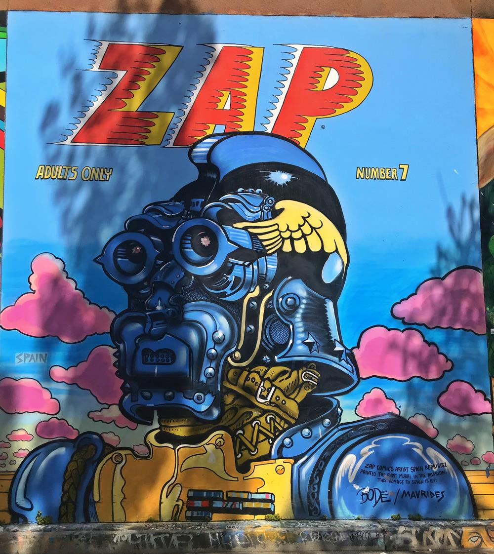Street art featuring the text Zap with a comic book theme