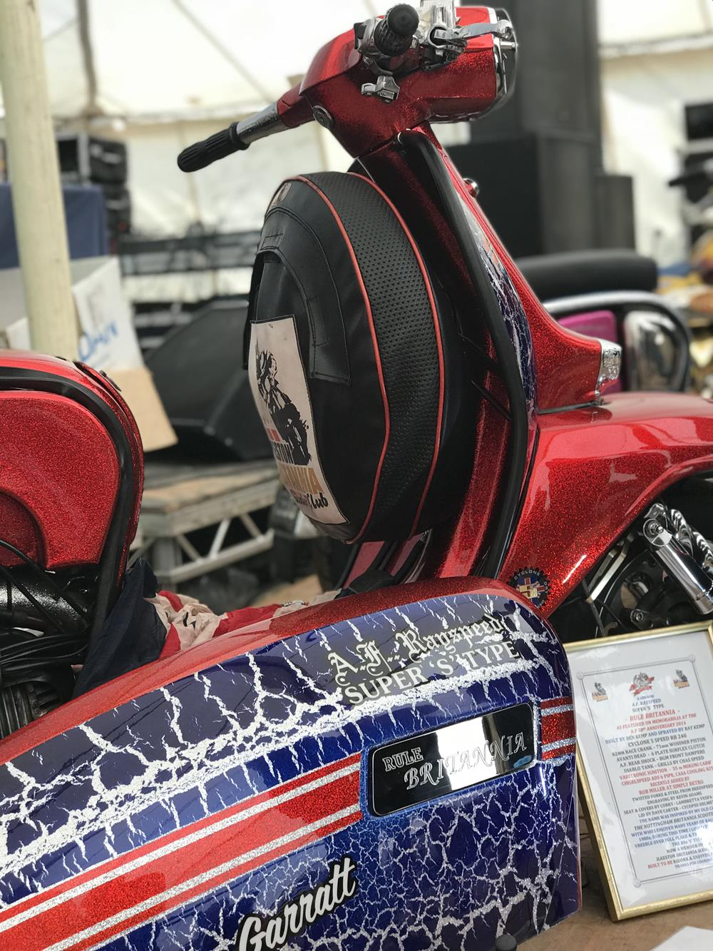 Rule Britannia custom Lambretta in red, silver and blue vreeble paintwork over metalflake base