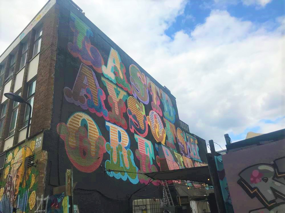 Ben Eine street art featuring large letters spelling Last Days Of Shoreditch