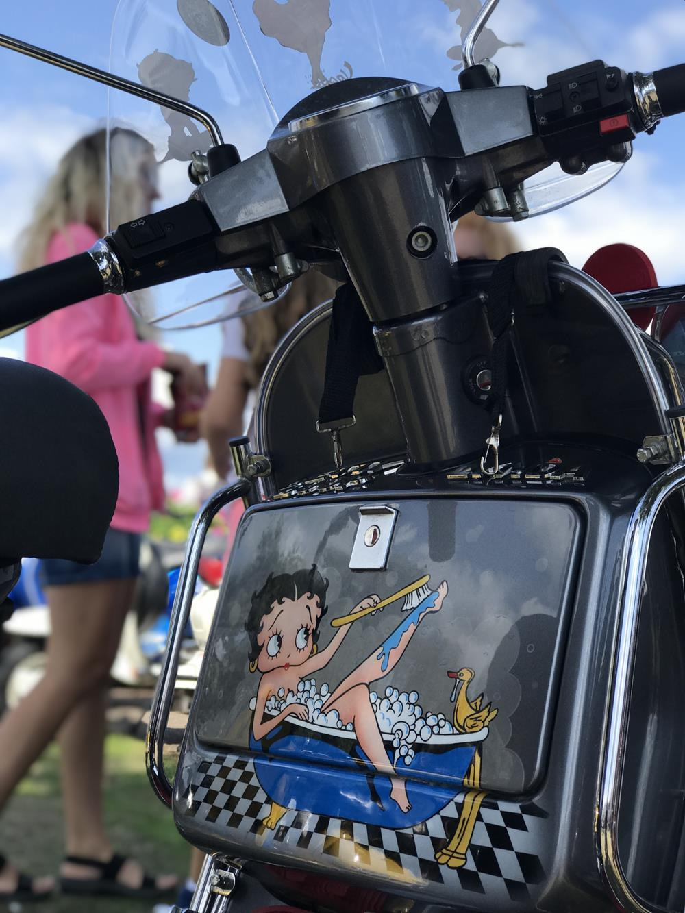 Betty Boop mural on a Vespa toolbox