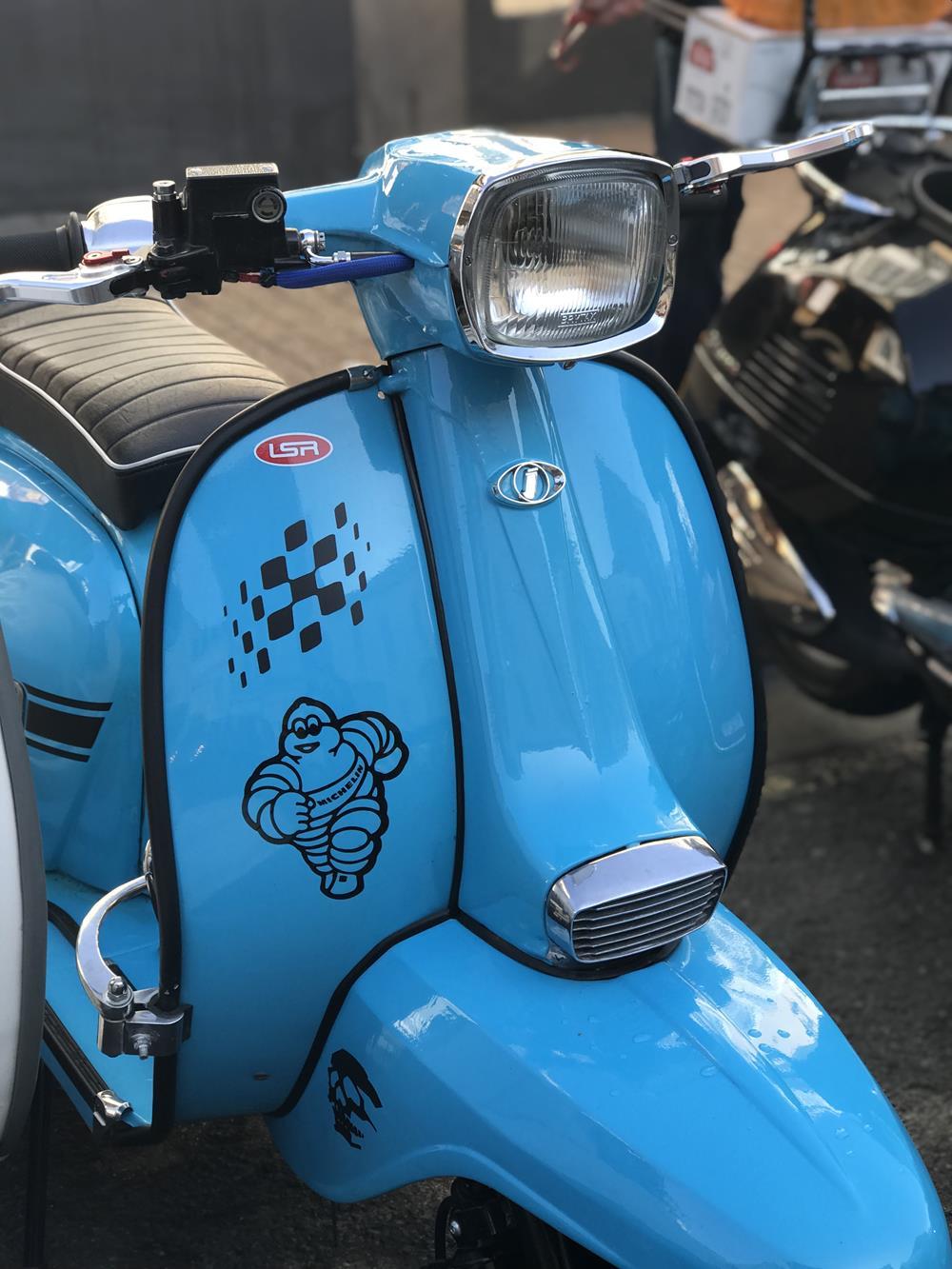 Sky blue Lambretta scooter