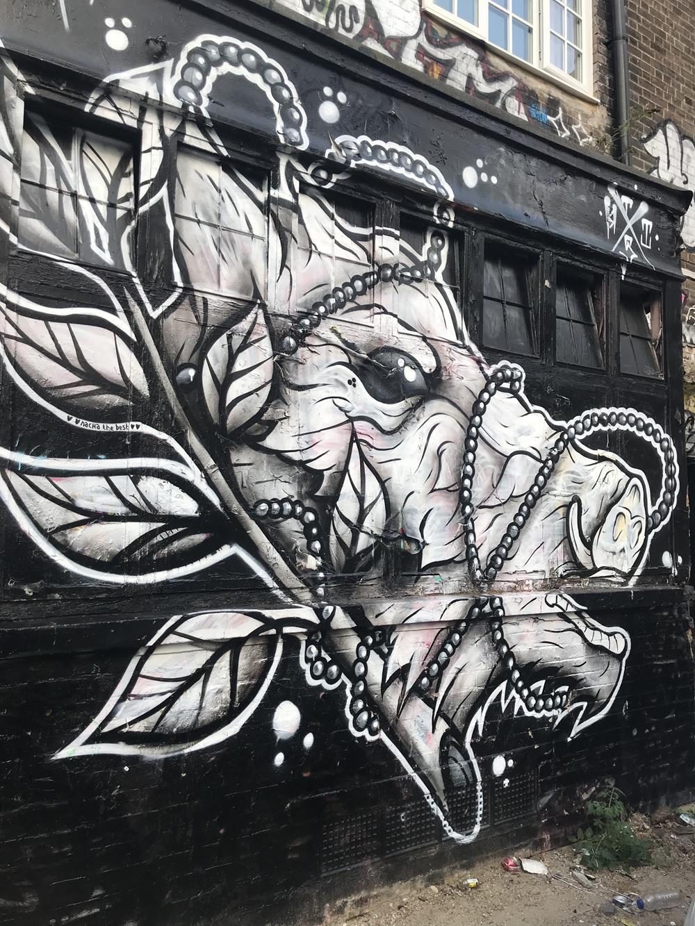 Shoreditch street art image of an animal in Brick Lane