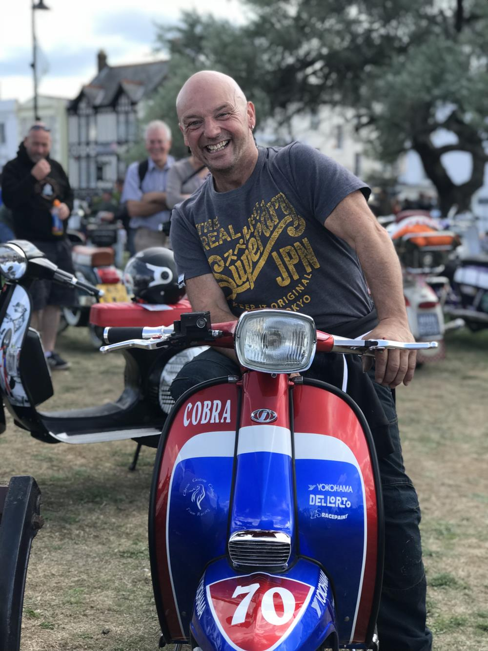 Elliot Ede on his Lambretta street style scooter