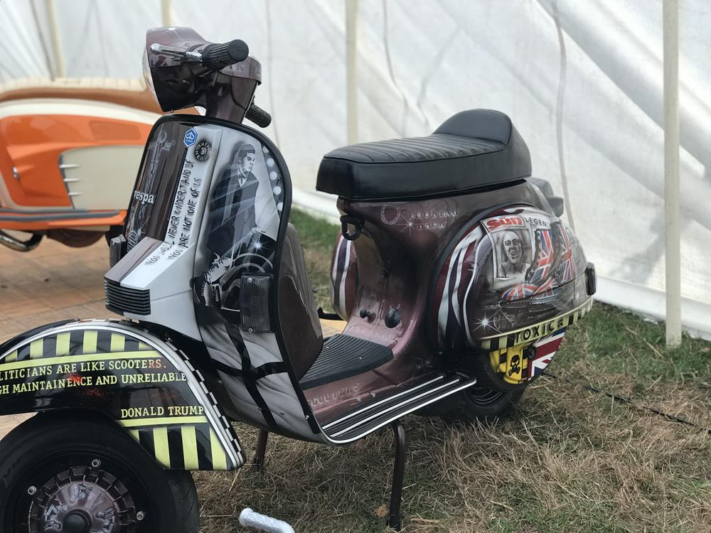 This is England custom Vespa PX at the Isle of Wight custom show in 2018
