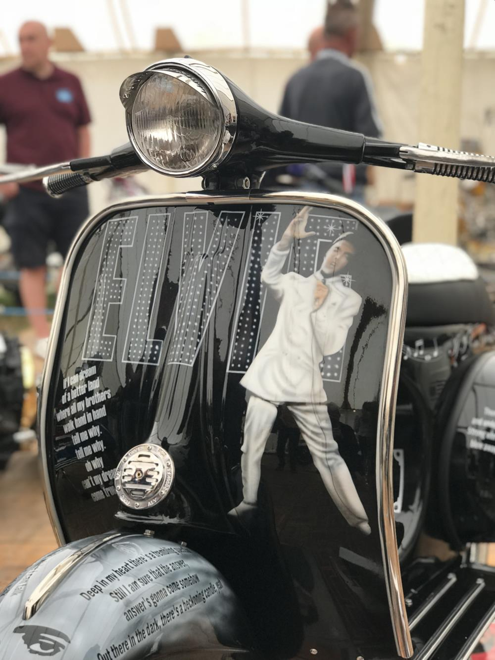Vespa front legshields with Elvis Presley murals