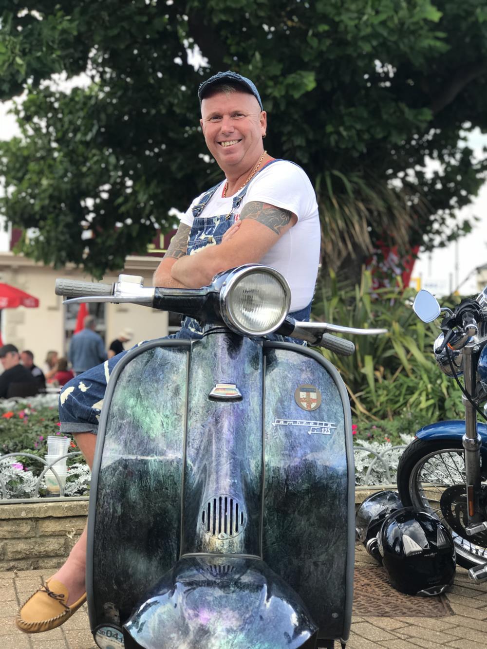 Gary Brice on custom Lambretta LI scooter