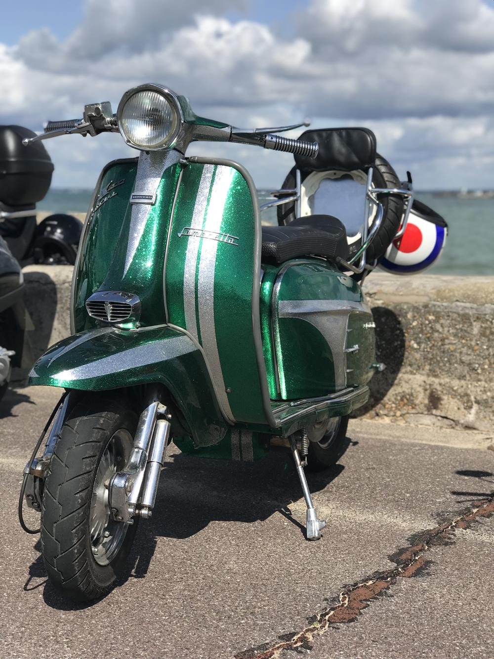Green and silver Lambretta
