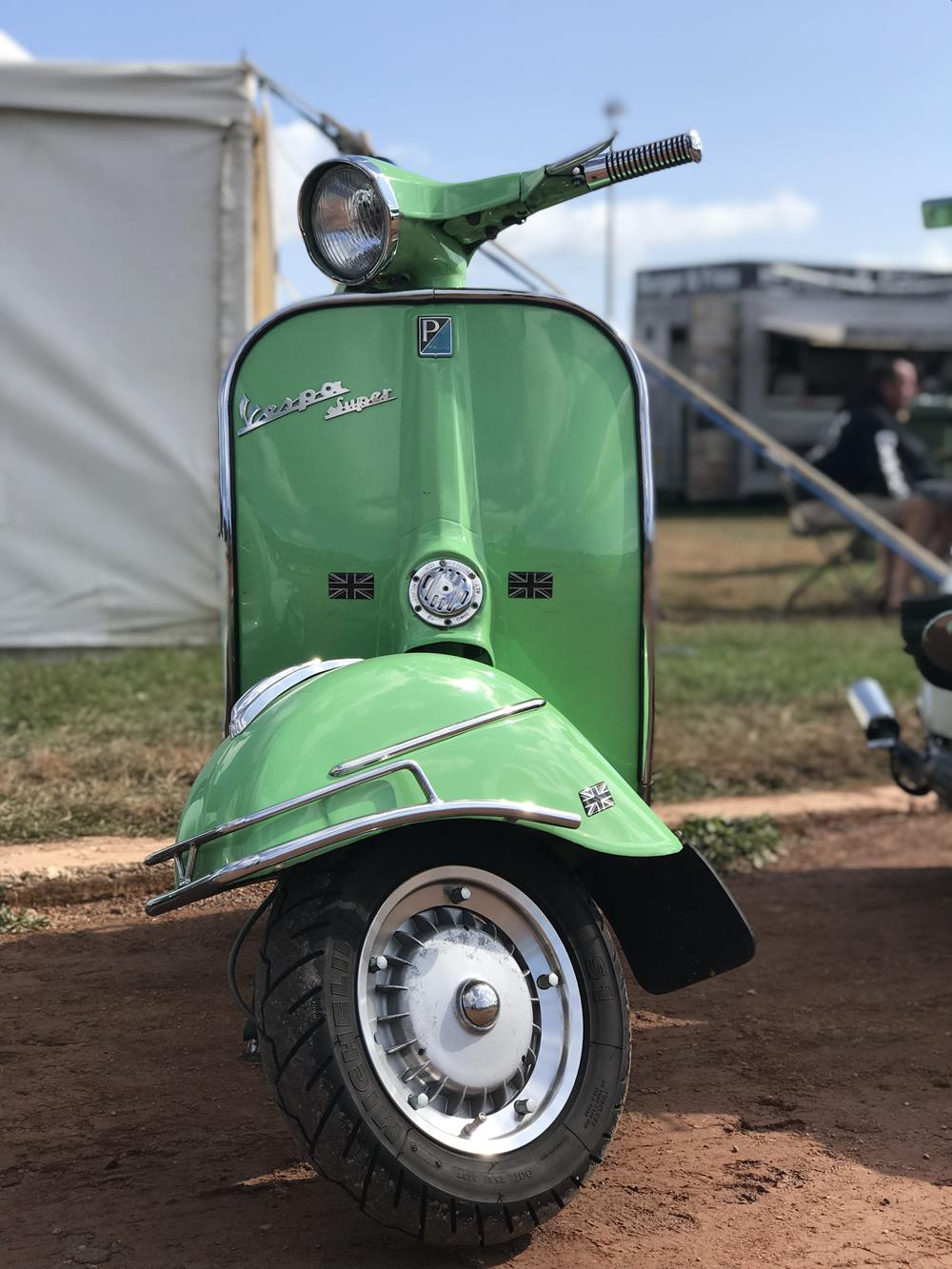 Green Vespa Super scooter