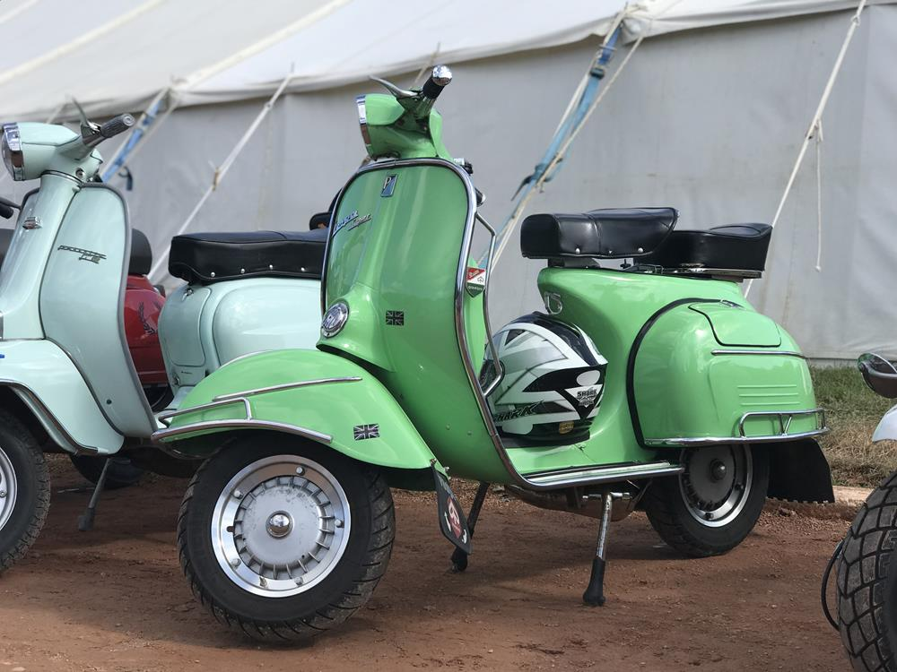 Green vintage Vespa at the Isle of Wight scooter rally