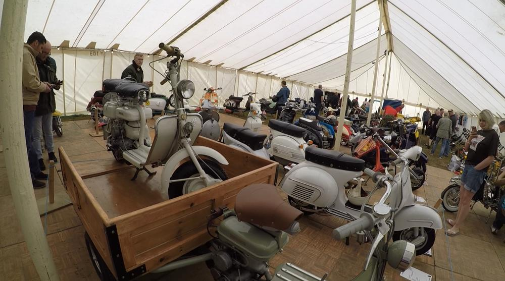 View of the scooters in the Isle of Wight custom show marquee