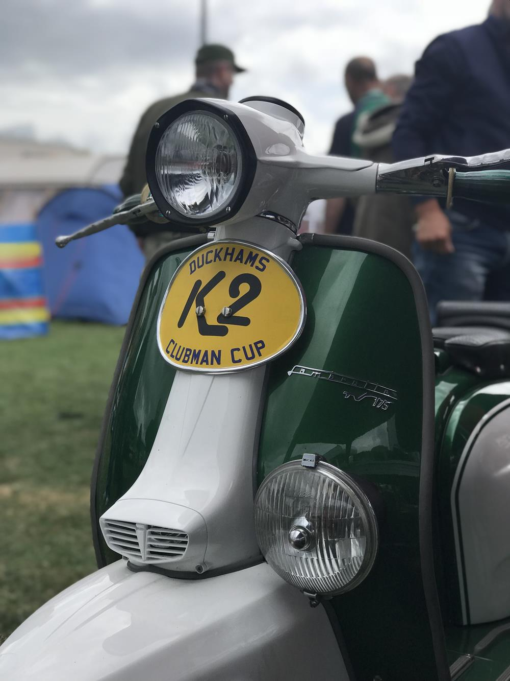 Front view of a K2 custom Lambretta scooter