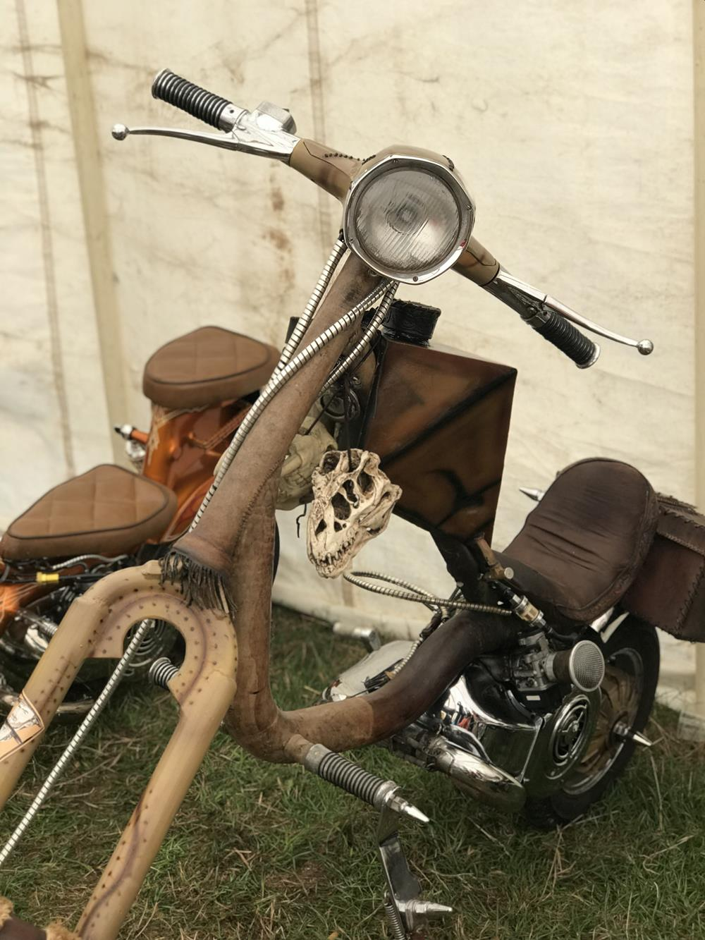 Leather covered Lambretta chopper at the Isle of Wight custom show