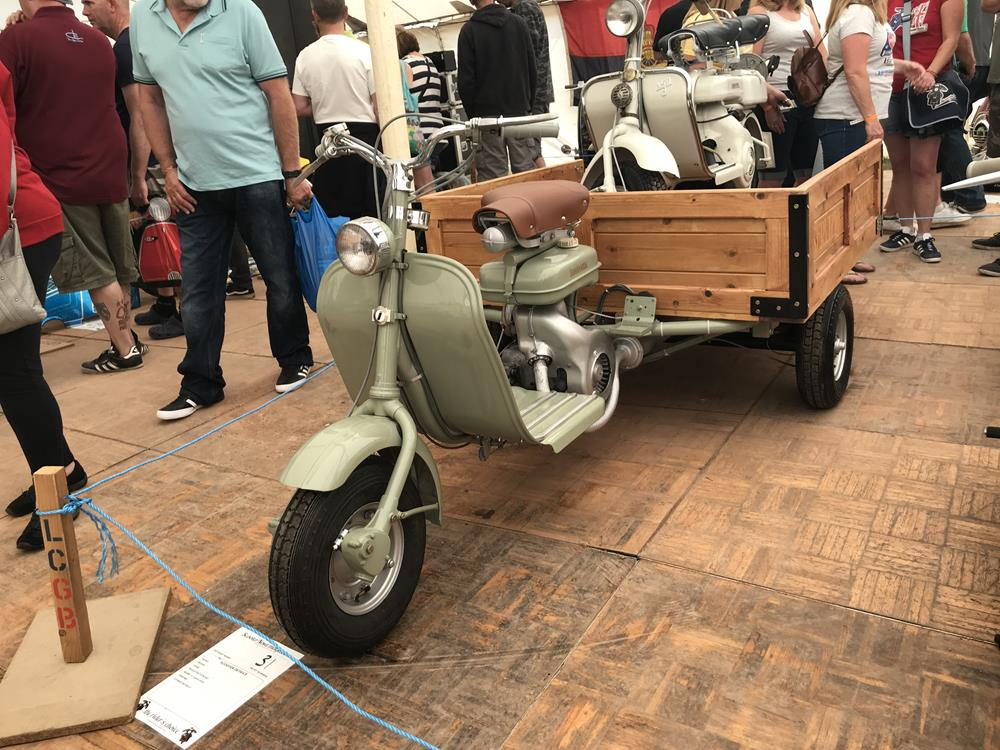 Three wheeled early Lambretta with trailer, with a Model D Lambretta on the trailer