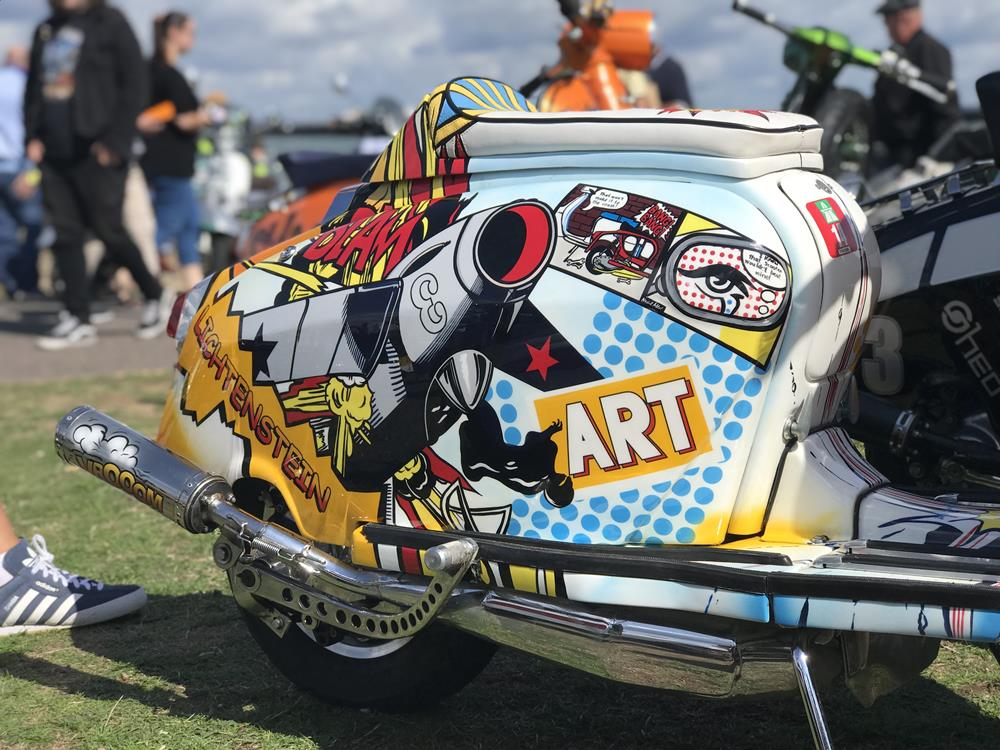 Lichtenstein Lambretta side panel with paint by Dave Dickenson