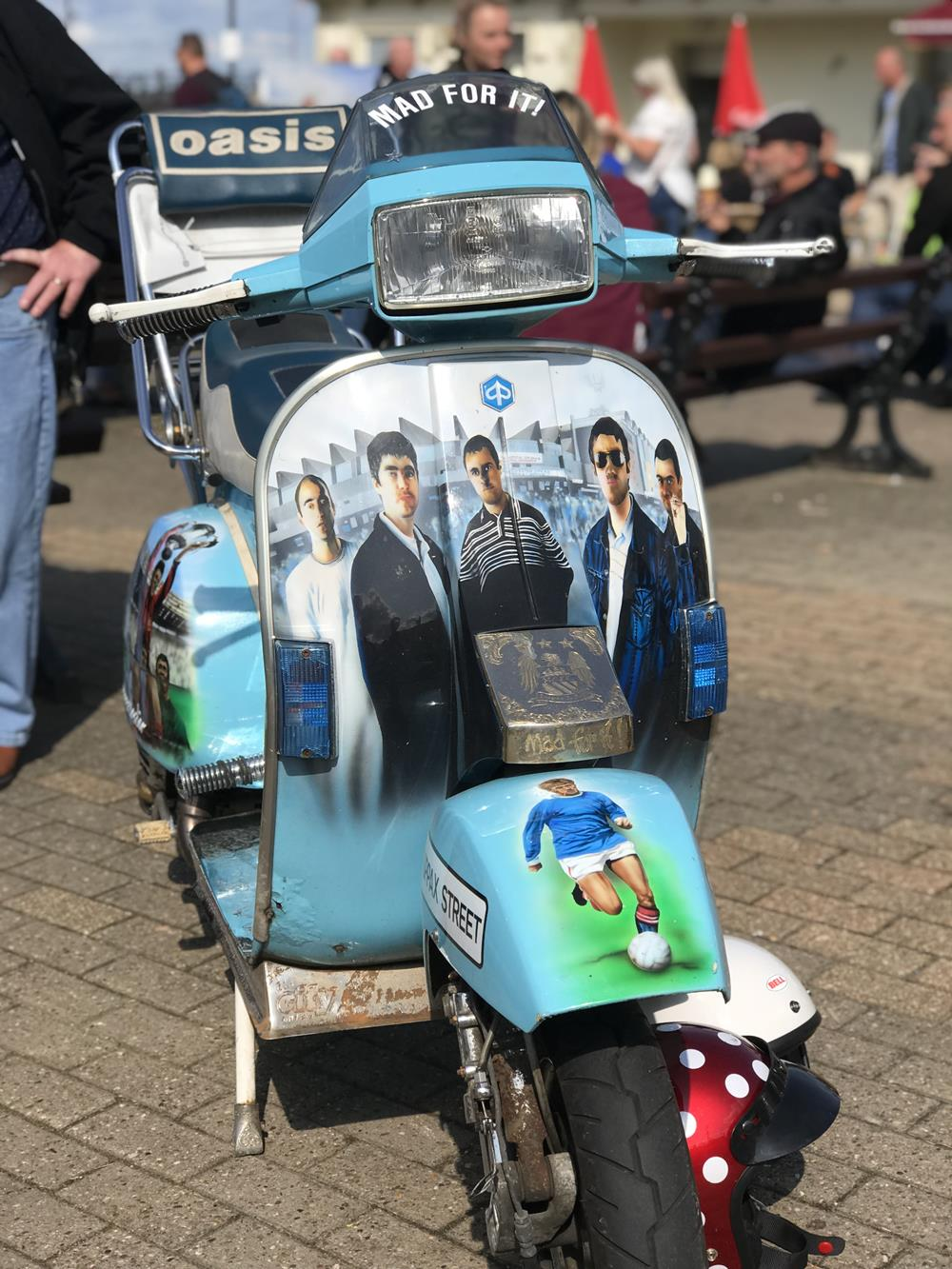 Oasis themed custom Vespa scooter