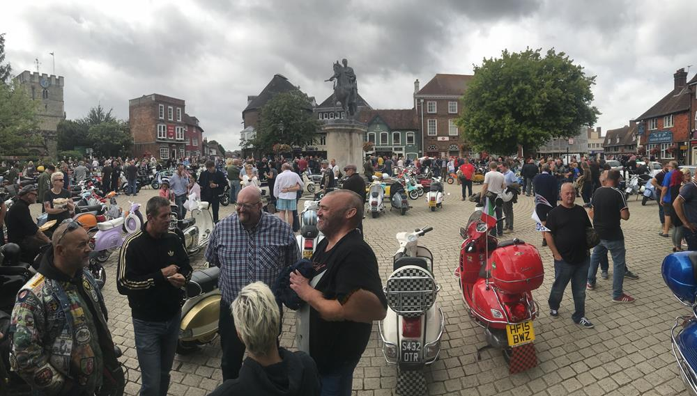 Scooterists gathered in the market square, Petersfield, Hampshire for Scooter Sunday