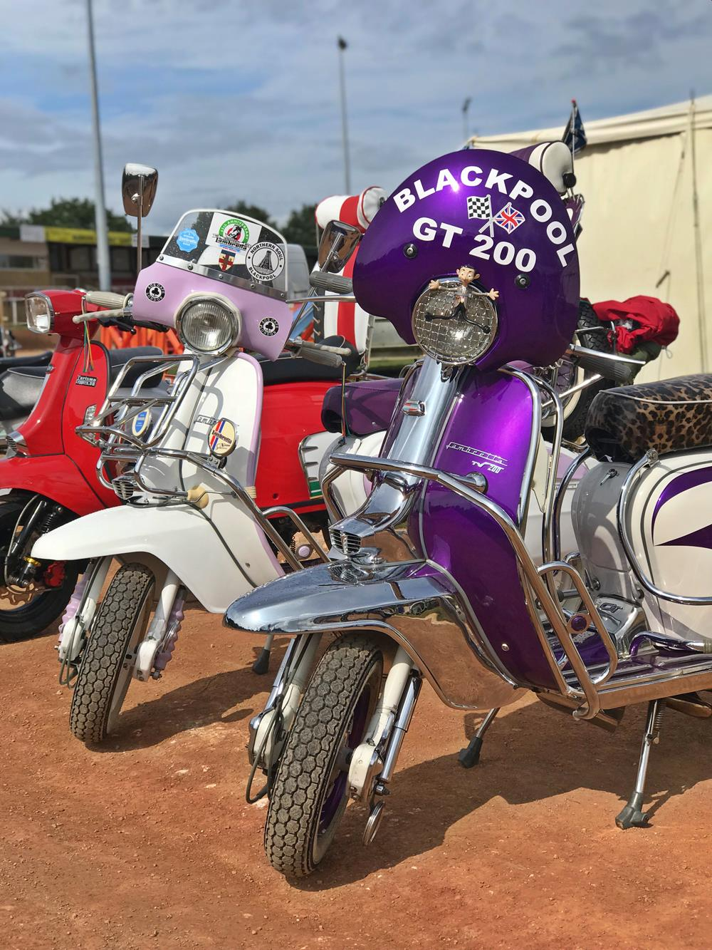 Purple and lilac Lambretta scooters at Smallbrook Stadium