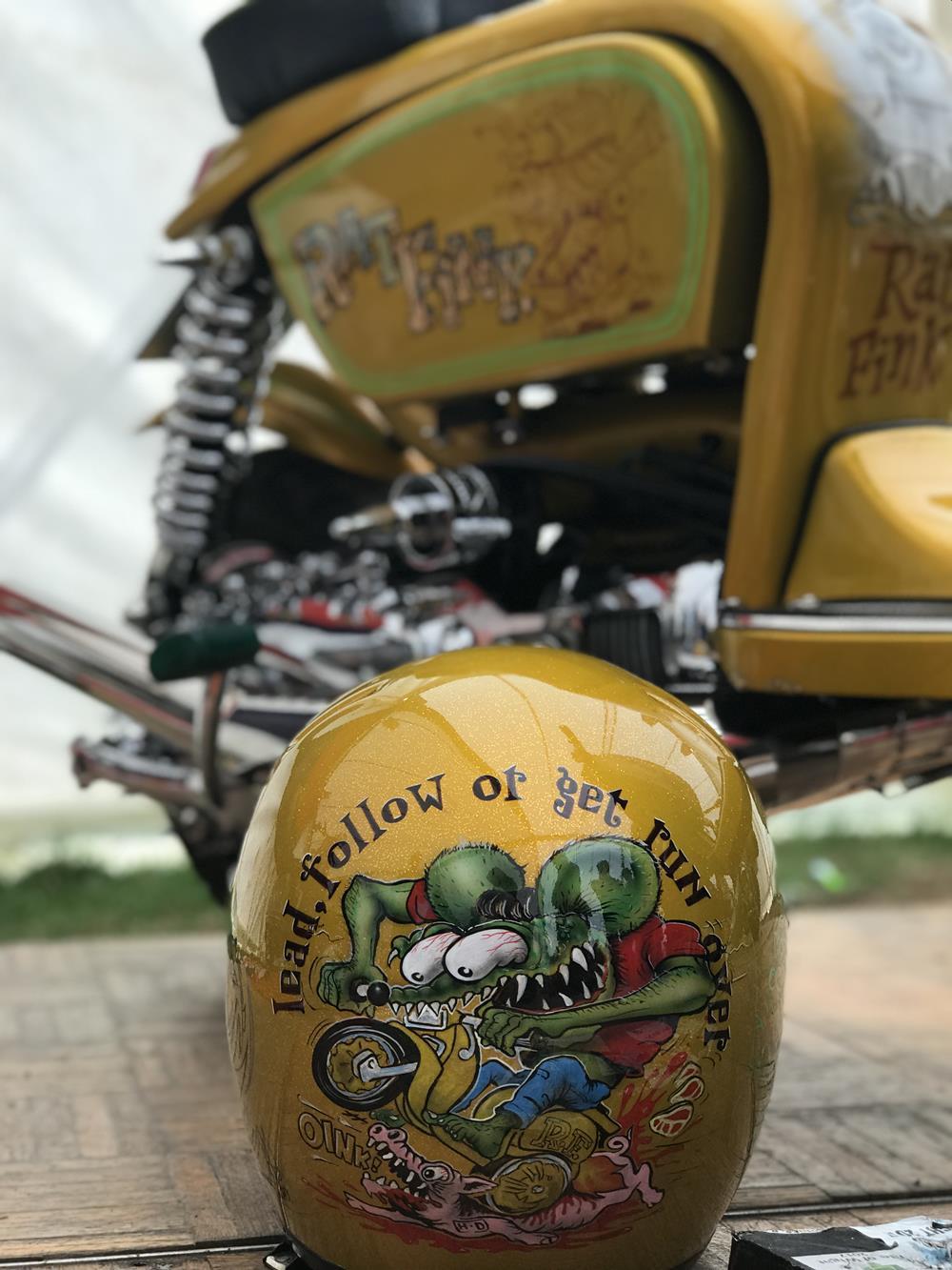 Ratfink murals on matching scooter and crash helmet