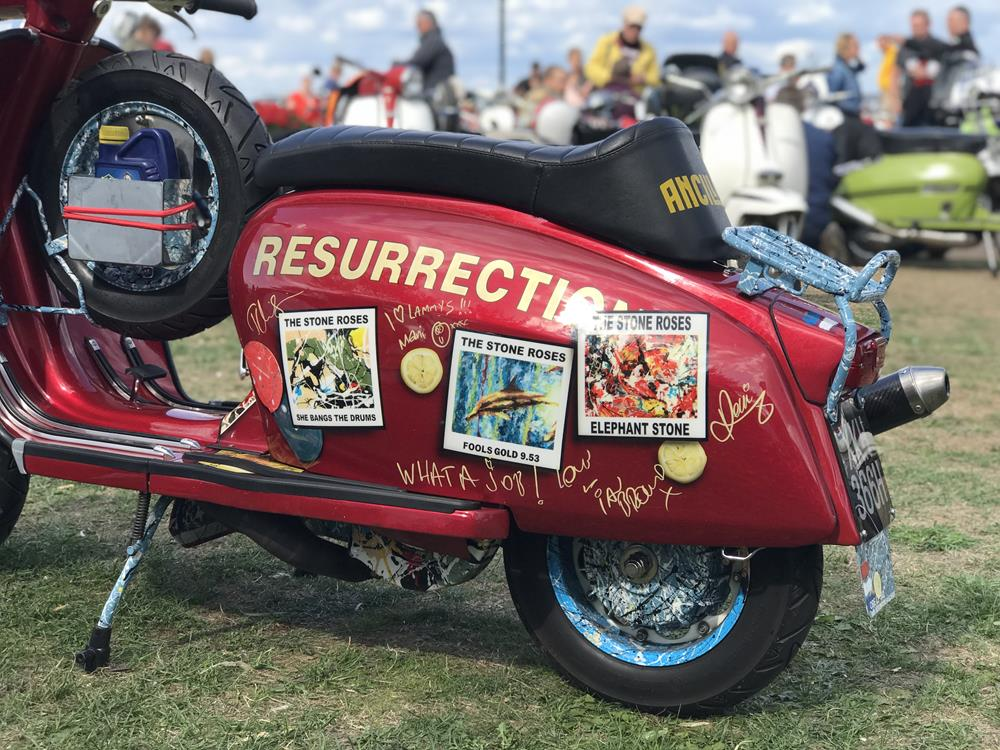 Red Lambretta featuring Stone Roses murals