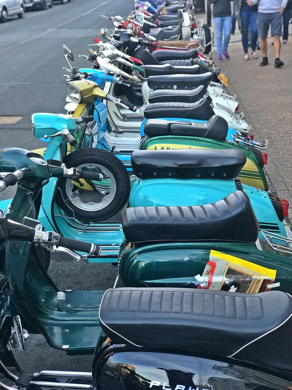 Row of Lambrettas outside Yelfs