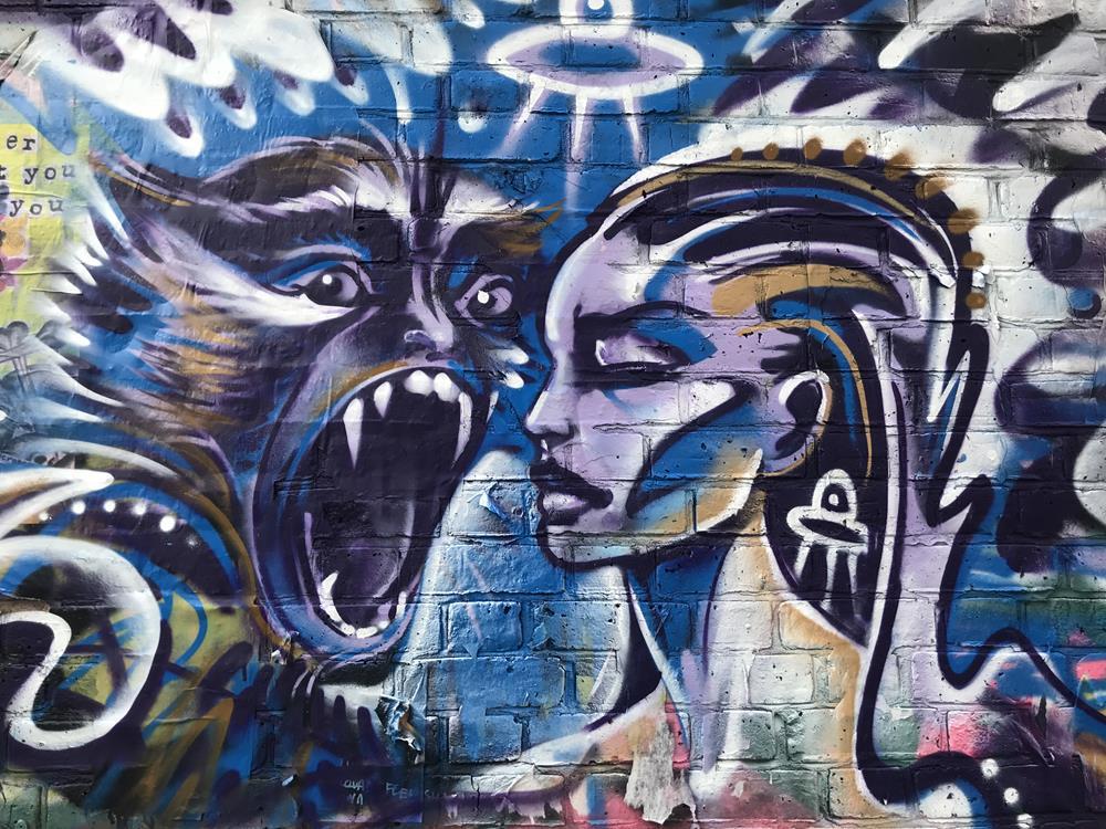 Shoreditch street art wall mural on Brick Lane