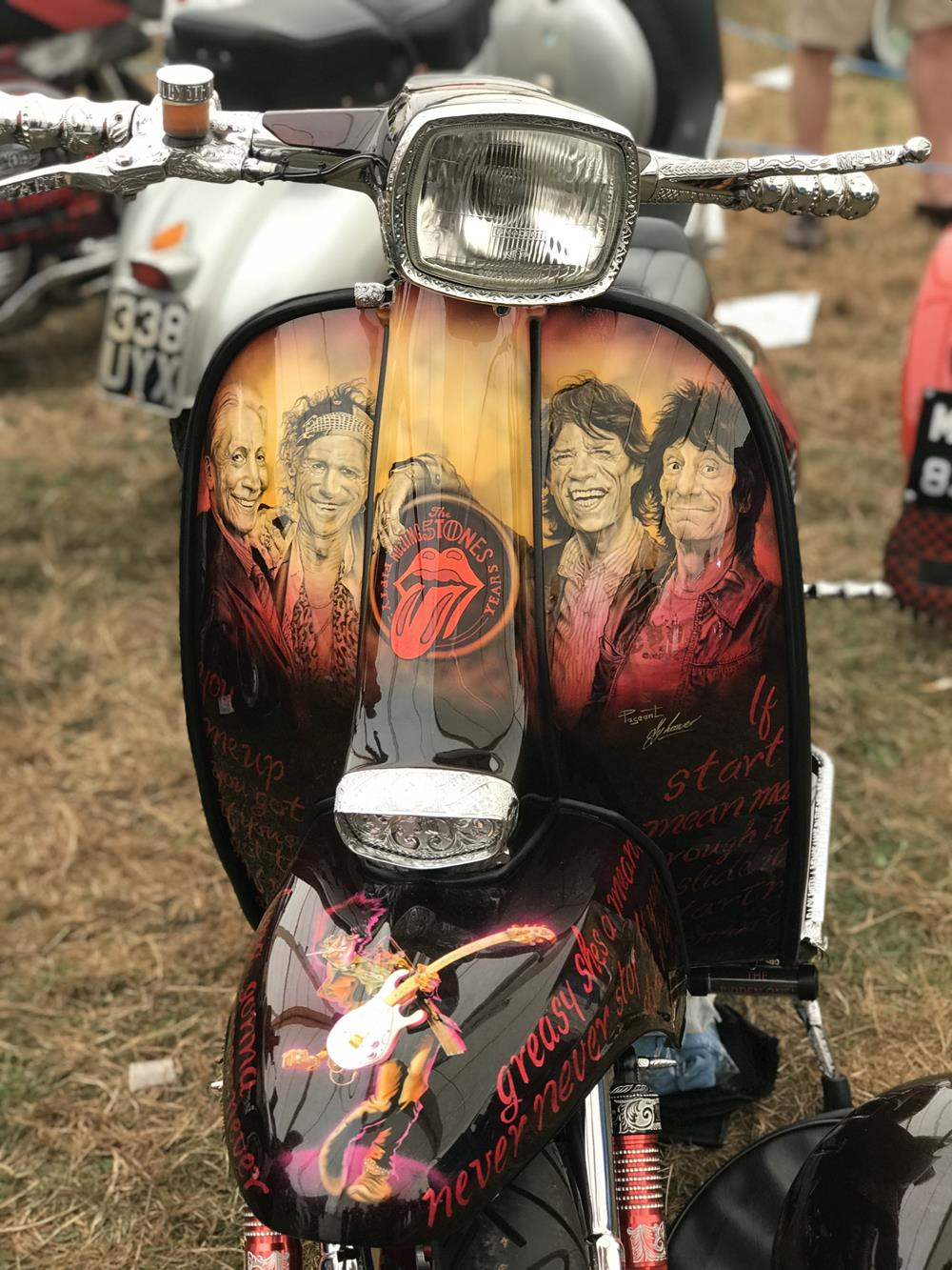 Legshield murals of the Rolling Stones on the front of custom Lambretta Start Me Up, on display at the Isle of Wight custom show