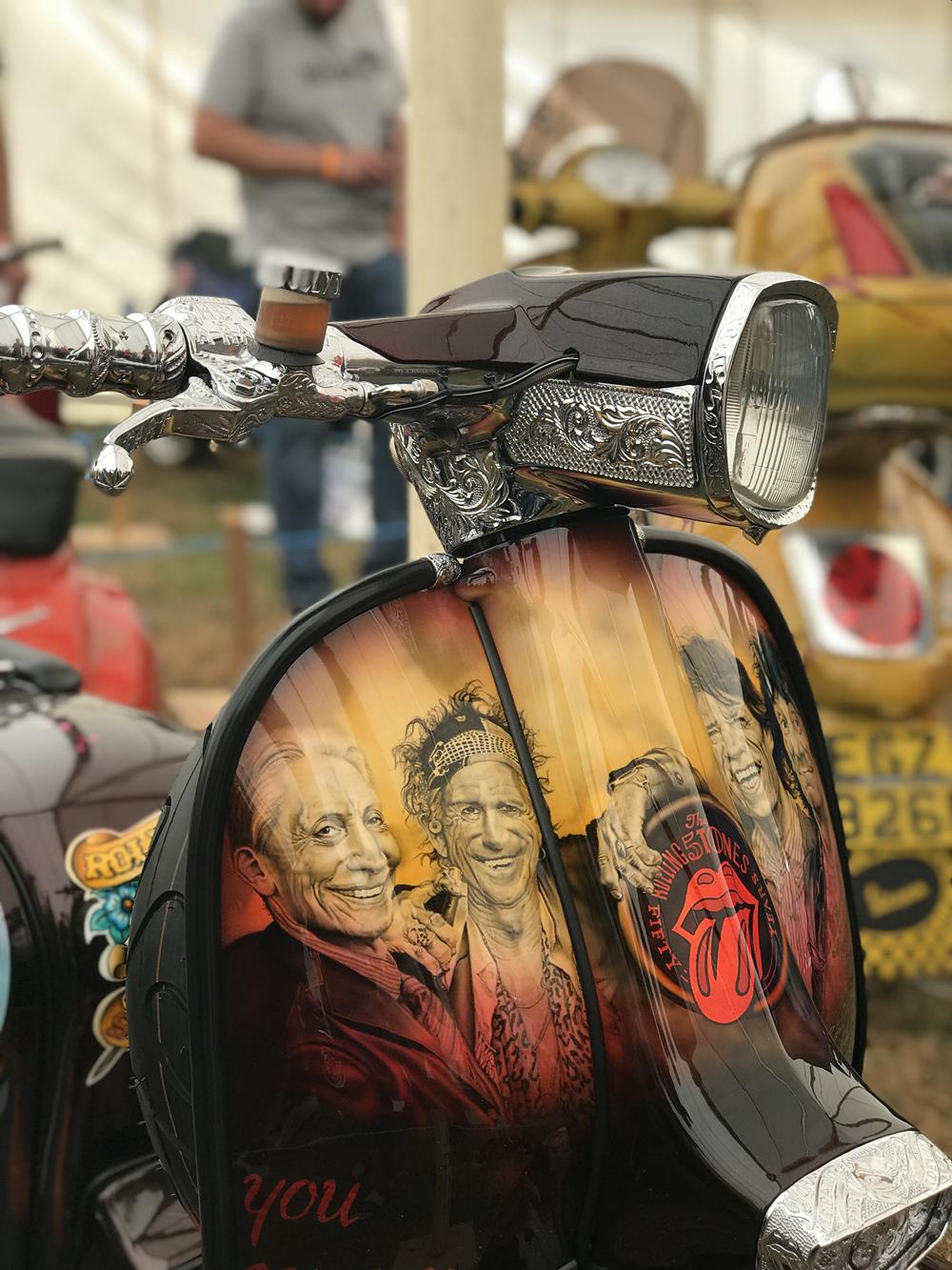 Start Me Up, custom Lambretta, legshields and headset with murals of the Rolling Stones