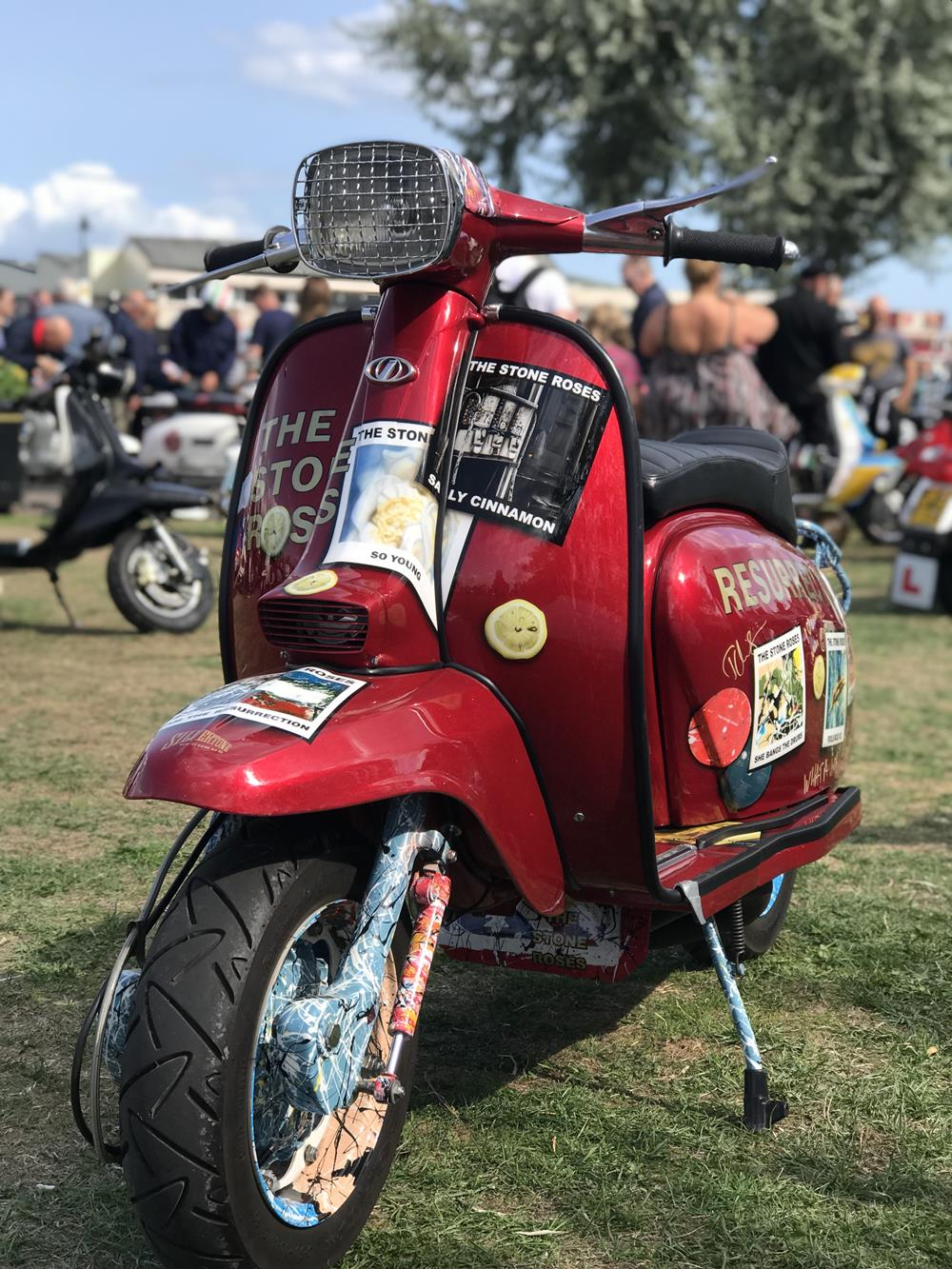 Red Lambretta with a Stone Roses theme