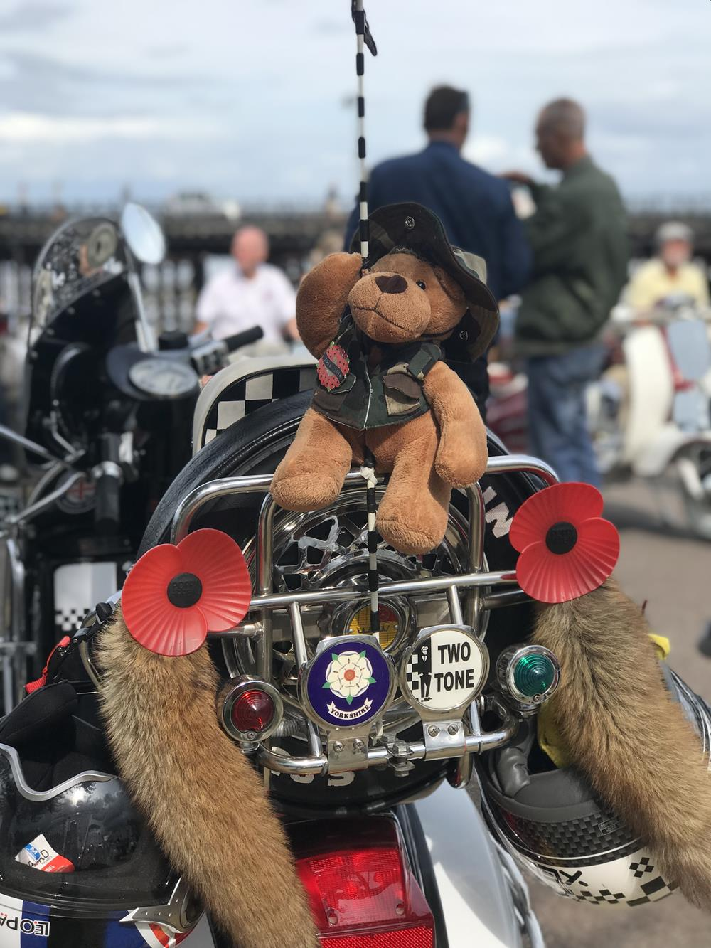 Rear scooter rack with Teddy and poppies fixed to it
