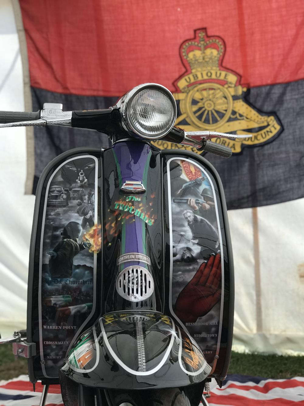 Custom Lambretta The Troubles with regimental flag in the background